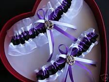 New Wedding Garter Set COWGIRL Purple White Black Prom Getthegoostuff