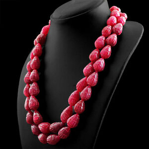1070.00 CTS EARTH MINED RED RUBY 2 LINE PEAR SHAPE CARVED BEADS NECKLACE (RS)