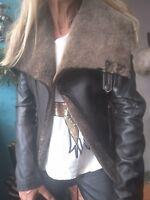 Muubaa Real Leather Shearling Coat/Jacket sz 8/4/36