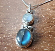 Labradorite and Moonstone 925 Sterling Silver Necklace Corona Sun Jewelry h133or