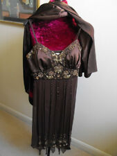 Mesdames Yve London marron chocolat soie Embelli Robe Cocktail Taille S