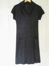 BCBG MaxAzria Dark Gray Angora Wool Knit Short Sleeve Sweater Dress w/ pockets M
