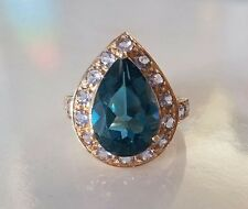 Large London Blue Topaz and Amethyst Ring Set In 10k Yellow Gold Size 8