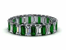 2ct Green Emerald Cut Fancy Eternity Wedding Band Ring 14k White Gold Finish