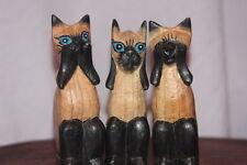 3 monos sabios gatos no tallados en madera ver, oír, hablar ningún mal tallado a mano.