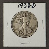 1938-D WALKING LIBERTY 50C Silver HALF DOLLAR ** VF+ KEY DATE! Lot#X065