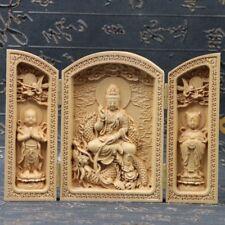 Chinese Boxwood Handmade Carved Three Dragon Kwan-yin Open Box