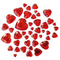 50pcs Red Valentines Heart Flatback Crystal Rhinestone Embellishments Gem Crafts