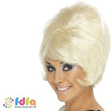 1960s BLONDE SHORT MOD BEEHIVE WIG ladies womens fancy dress costume accessory