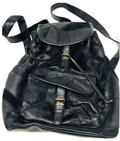 Vintage Black Patchwork Leather Draw String Backpack 70's Style Bag 13x14x6