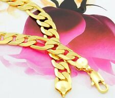 """Heavy 24"""" Real 24k Yellow Gold Filled Mens Necklace GF Figaro Chain 12mm"""