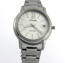 CITIZEN LADIES ECO-DRIVE WATCH JAPAN MADE DATE 33mm STAINLESS STEEL FE6010-50A