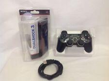 Sony Playstation PS3 Controller w/ USB & Box - Black - Sixaxis