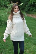 Ivory Hand Knitted No Mohair SWEATER Turtleneck soft Wool Pullover by SSEu