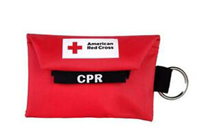 American Red Cross Mini CPR Keychain + gloves Mask / Face Shield Barrier Kit