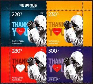 ARMENIA 2021-02 Medicine, Pandemic: Thanks to Doctors. BLOCK of 4v, MNH