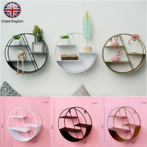 Vintage Wall Unit Retro Iron Industrial Style Metal Round Shelf Rack Storage HOT