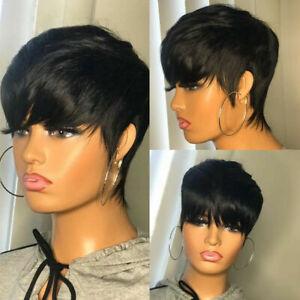 Brazilian Women's Pixed Cut Short Remy Human Hair Straight Black None Lace Wigs