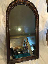 "Vintage Arched Wood Framed Mirror With Carved Designs 44"" Tall x 24"" Wide"