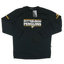 Adidas Pittsburgh Penguins Player Crew Neck Sweatshirt Men's Sz XL Black D77084