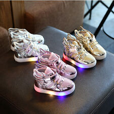 New Children Kids Boys Girls Luminous Sneakers Shoes Led Light Up Trainers Shoes