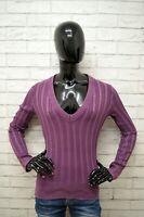 Maglione MARLBORO CLASSICS Donna Taglia M Cardigan Pullover Sweater Cotone Viola