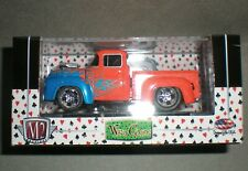 1/64th M2 Machines Wild Cards 1956 Ford F-100 Pickup Truck Orange w/Flames