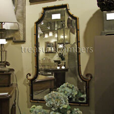"""Bamboo Curl Flat Top Arch Gold & Black Wall Mirror Large 42"""""""