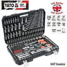Yato Professional 216 pcs Ratchet Socket Set 1/2 1/4 3/8 Tools Toolbox YT-38841