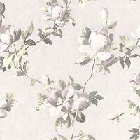 Emilia Rosa Floral Papel Pintado Rosa Crema Dorado - Rasch 502114 Flores