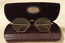 Vintage Antique Shuron 12k GF Octagon eyeglasses spectacles gold frame w/case