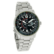 Citizen Eco-Drive Mens Nighthawk Black Dial Stainless Steel Watch BJ7000-52E