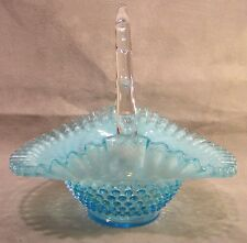 "Fenton Art Glass Blue Opalescent Hobnail 10"" Basket"
