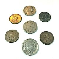Old US Coin Lot 7 Coins❗ Indian Head, Buffalo, Liberty V, Wheat, Coins In 2x2s❗️