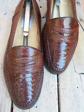 MORESCHI Mens Dress Shoe Soft Brown Ostrich Leather Italian Penny Loafer Size 8M