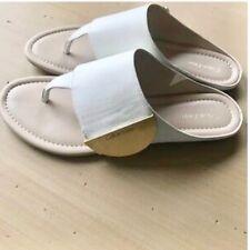 CALVIN KLEIN CK Behati 6 White Tumbled Leather Flip Flop Summer Sandals Slippers