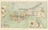 Map Repro Antique 1878 Stanford Cyprus Inset Towns Canvas Art Print