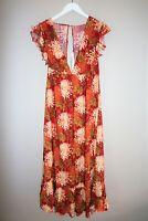 Indikah Brand BOHO Red Floral Maxi Dress Size 8 BNWT #TI102
