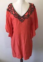 Seduce Dress Orange Beaded Detail Short Size 12