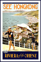 Hong Kong  Vintage Illustrated Travel Poster Print  on canvas