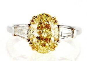 4CT Yellow Diamond Ring 18KT White Gold Natural Fancy Oval Cut GIA Certified
