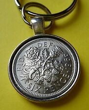 Traditional Lucky Silver Sixpence Key Ring/Charm or Pendant