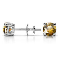 1.00 Ct Round Cut Solitaire Citrine Earring 14K Solid White Gold Stud Earrings