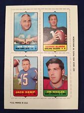 1969 TOPPS 4-IN-1 BOB TALAMINI/GEORGE BLANDA/JACK KEMP/JIM WHALEN