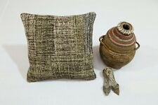 """16"""" Handmade Natural Cushion Cover One-of-a-Kind Vintage Pillow Case Brown Eco"""