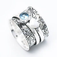 Blue Topaz Solid 925 Sterling Silver Spinner Ring Meditation,statement ring 02