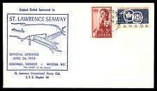 St Lawrence International Stamp Club Cornwall Pmk Seaway Combo 1959 FDC First Da