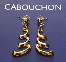 CABOUCHON GOLD & RHODIUM PLATED  DROP EARRINGS - PIERCED EARS