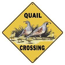 Quail Crossing Sign NEW 12X12 Metal Bird California Gambel's