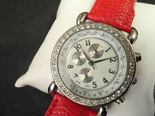 Ladies Quartz watch running perfect, sharp looking Red leather band